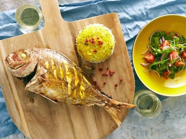 Whole Snapper with Walnut, Coriander and Barberry Recipe