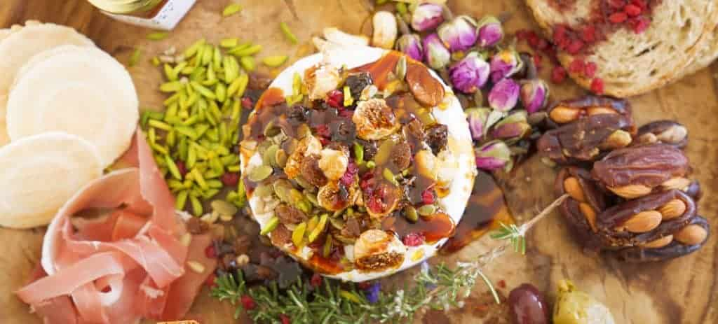 Cheese Platter with Dried Barberries, Baby Figs, Slivered Pistachios and Stuffed Dates Vegan