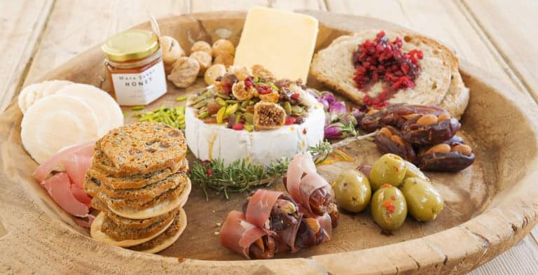 Cheese Platter with Barberries, Dried Figs, Slivered Pistachio and Stuffed Dates