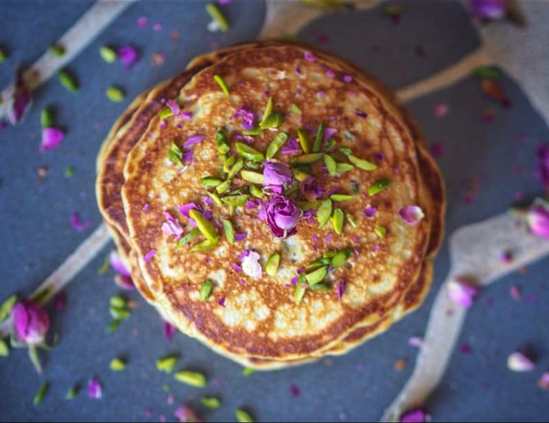 Pancake with Rose Petals and Slivered Pistachio